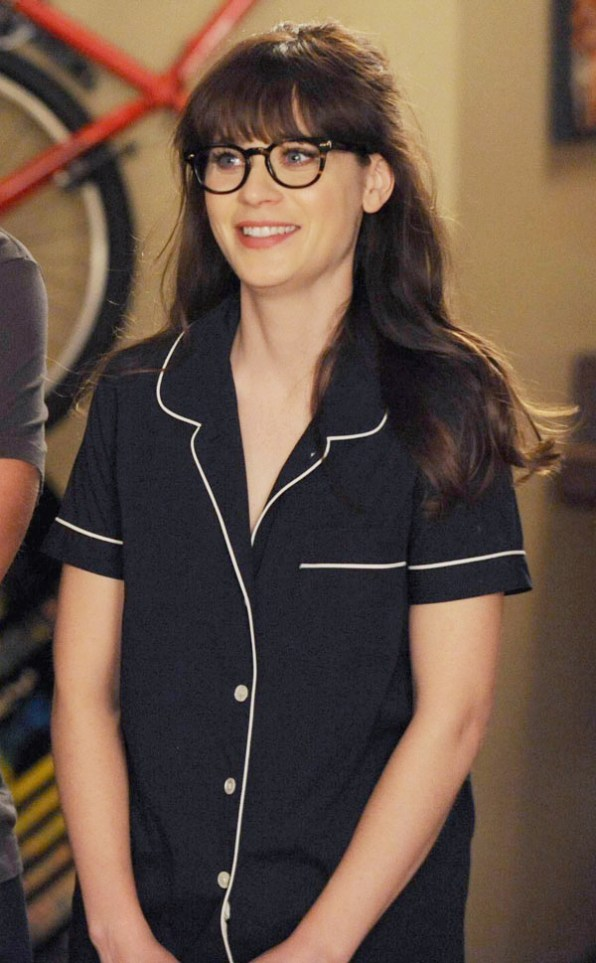 30c8d02882 Zooey Deschanel on New Girl wearing J.Crew PajamasPhoto: courtesy of Fox