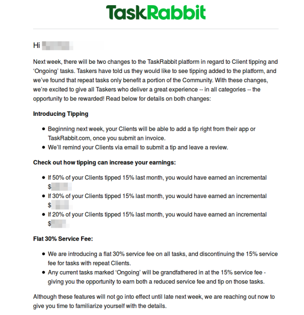 TaskRabbit Quietly Doubled The Cut It Takes From Many Of Its