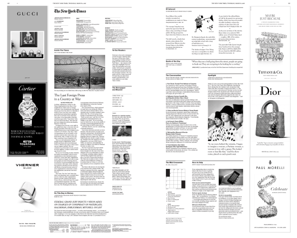 "207a1d57ce224f Laid out in clean, spare blocks of text, the new inside pages feature a  ""Beyond the Newspaper"" section that highlights digital and audio content,  ..."
