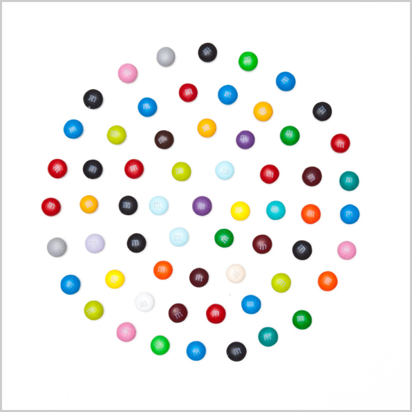 Spoofing Damien Hirst, With Dot Paintings Made Of M&M's