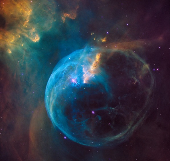 Hubble telescope captures giant star blowing bubbles into space