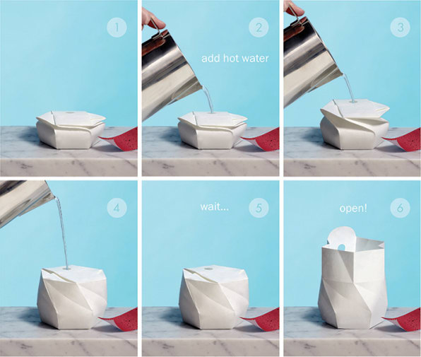 An Origami-Like Bowl That Expands When You Add Water