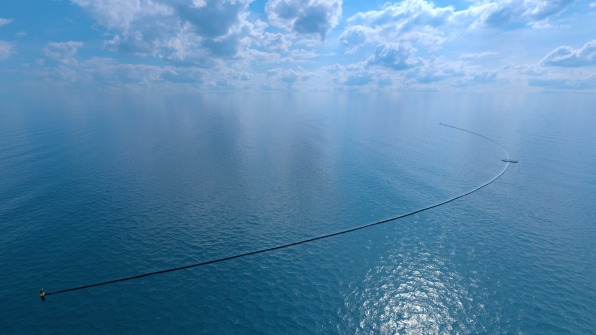 """We thought 'wait a minute, instead of fixing it to the seabed, we can fix it in that deep-water layer."""" [Image: courtesy The Ocean Cleanup Foundation] ..."""