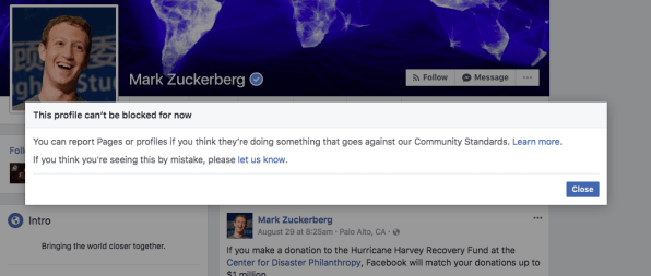 Here's why Facebook says you can't block Mark Zuckerberg or