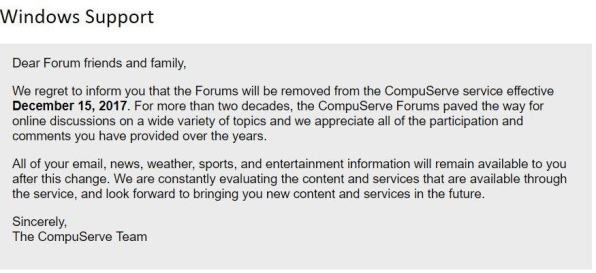 CompuServe\u0027s forums, which still exist, are finally shutting down