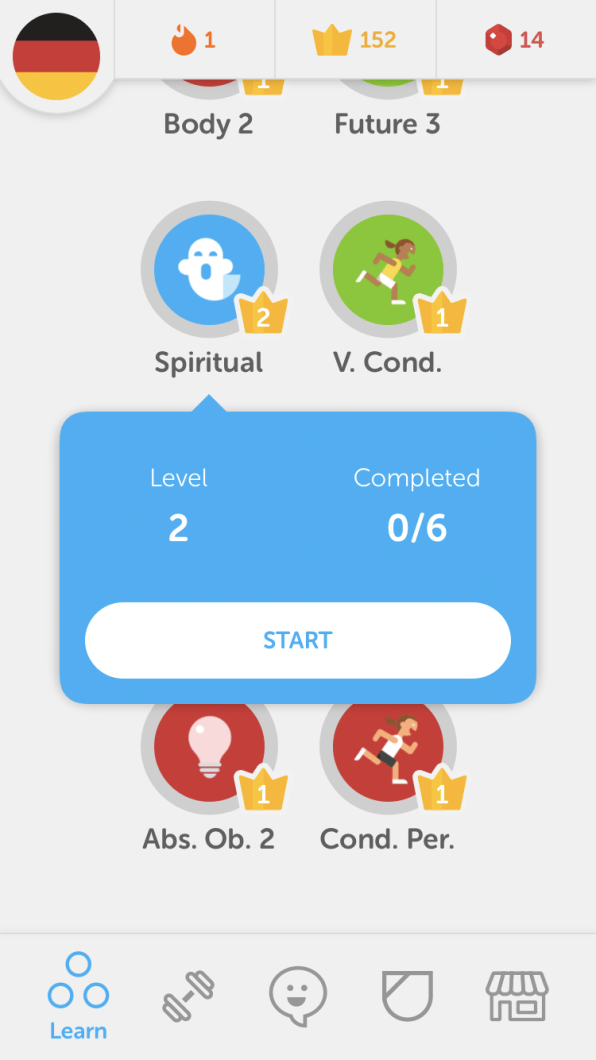 1d51b9504e4 I thought at first that I had completed Level Two of Spiritual, but I was  just starting. [Image: courtesy of Duolingo] ...
