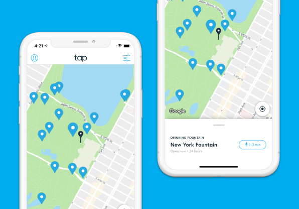 The Tap app maps you where you can fill up a water bottle