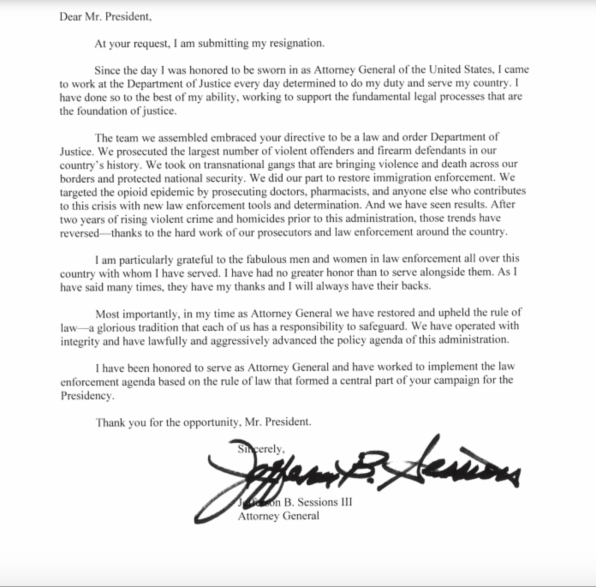 "Jeff Sessions signs his ""resignation"" letter in Sharpie ..."