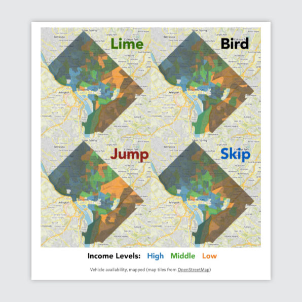 How Lime, Bird, Skip, and Jump serve different populations