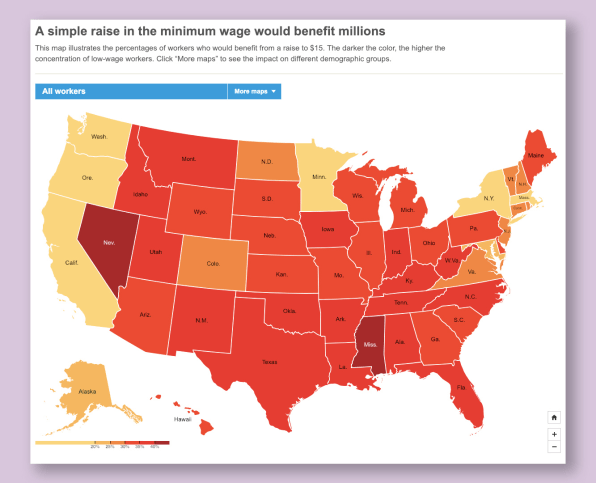Mapping where people would benefit from a $15 minimum wage