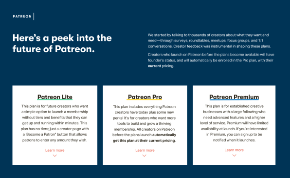 Patreon introduces new tiers for creators  Can it avoid a