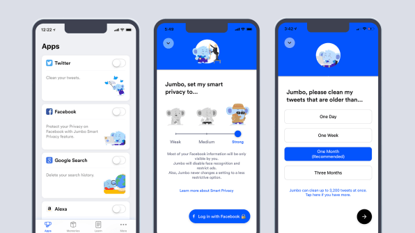 Jumbo is an iOS app that protects your privacy online for you
