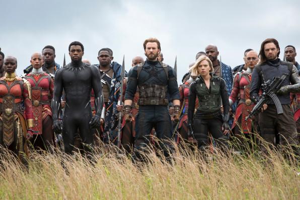 Left to right) Danai Gurira as Okoye, Chadwick Boseman as Black Panther, Chris Evans as Captain America, Scarlet Johansson as Black Widow, and Sebastian Stan as Winter Soldier. [Photos: courtesy of Chuck Zlotnick/Marvel Studios