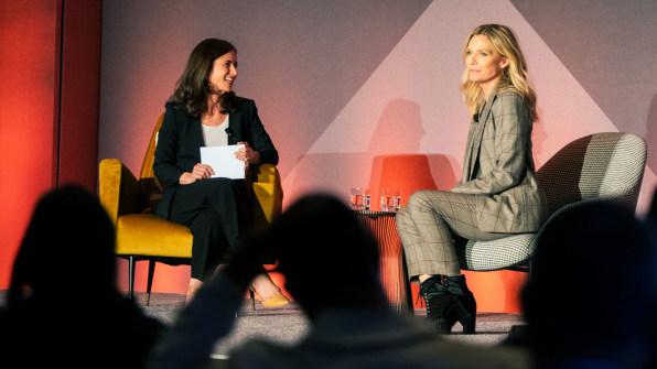 Michelle Pfeiffer , actress, producer, and founder of Henry Rose (right) speaks with Jill Bernstein , editorial director at Fast Company . [Photo: Maja Saphir for Fast Company