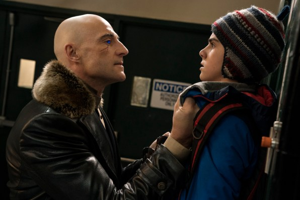 Mark Strong as Dr. Thaddeus Sivana and Jack Dylan Grazer as Freddy Freeman in Shazam!
