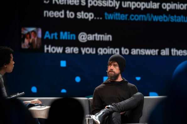 Hosts Chris Anderson and Whitney Pennington Rodgers speak with Jack Dorsey at TED2019 in Vancouver, BC, Canada.
