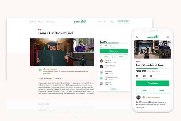GoFundMe's new site is designed to make you give more, faster
