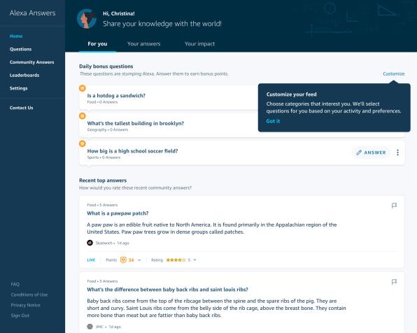 Amazon's Alexa Answers lets anyone teach facts to Alexa