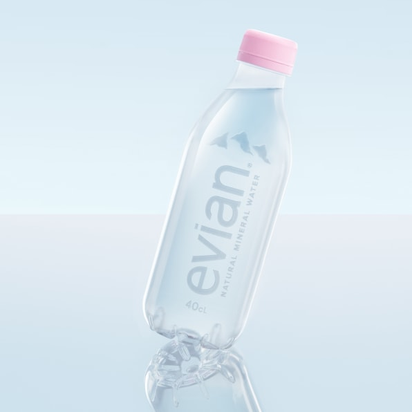 Evian S New 100 Recycled Plastic Bottle Has No Label