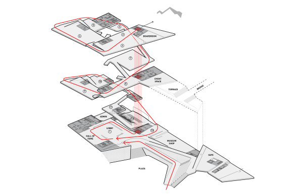 An exploded view of the museum, showing the spiral path that visitors take.