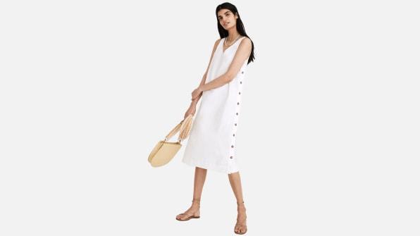 i 9 madewell linen cotton side button dress