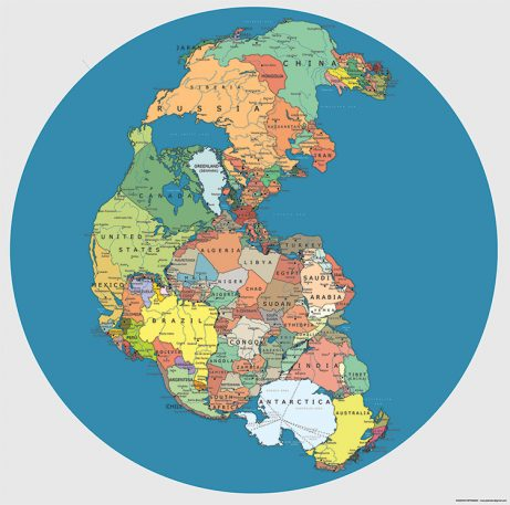 Pangea Redrawn With Today's Political Boundaries