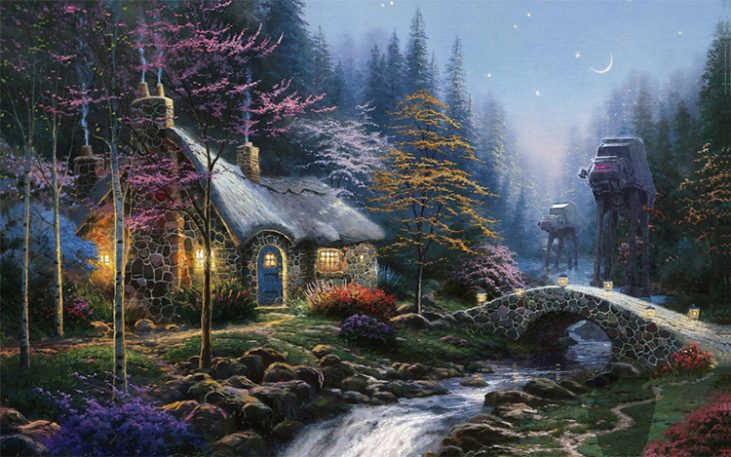 Star Wars Imperial Forces Invade Thomas Kinkade's Precious Paintings