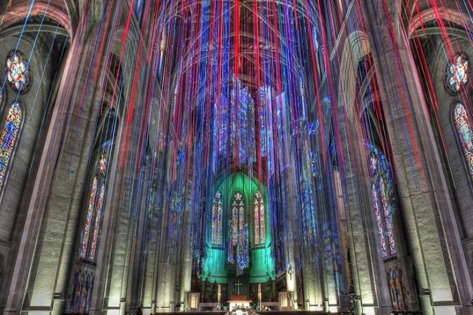 Synesthetic Artist Suspends 20 Miles Of Ribbon Inside Grace Cathedral