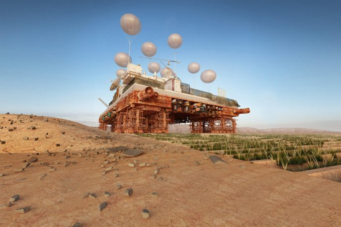 Mobile City On Treads Would Double As A Plow, Turning Deserts Into Oases