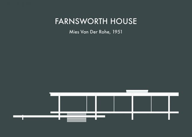 Whimsical Illustrations Of Famous Buildings, From Fallingwater To The Farnsworth House