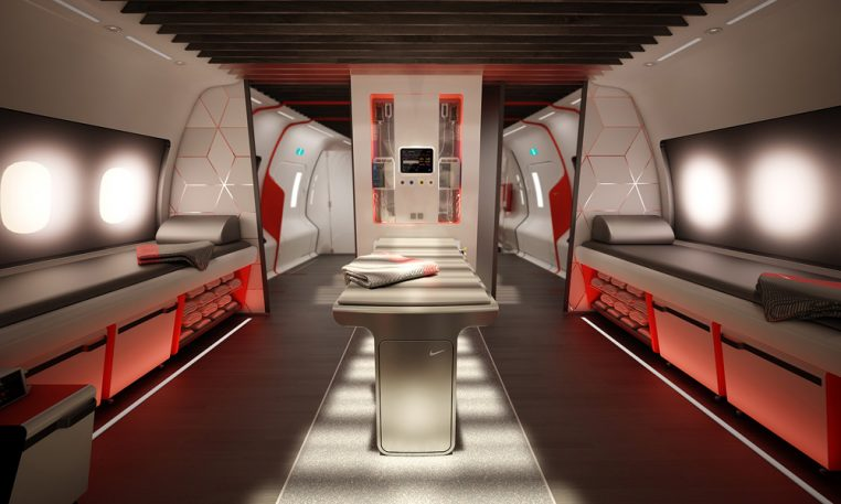 Nike Designs A Flashy Airplane Cabin For Pro Athletes