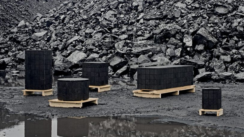 This furniture looks like marble. It's actually coal