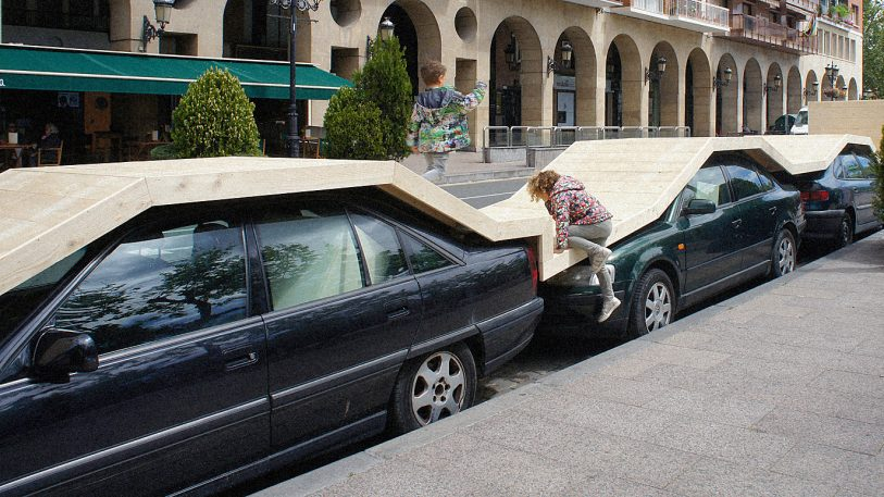 Turns out a good place to put a park is right on top of parked cars