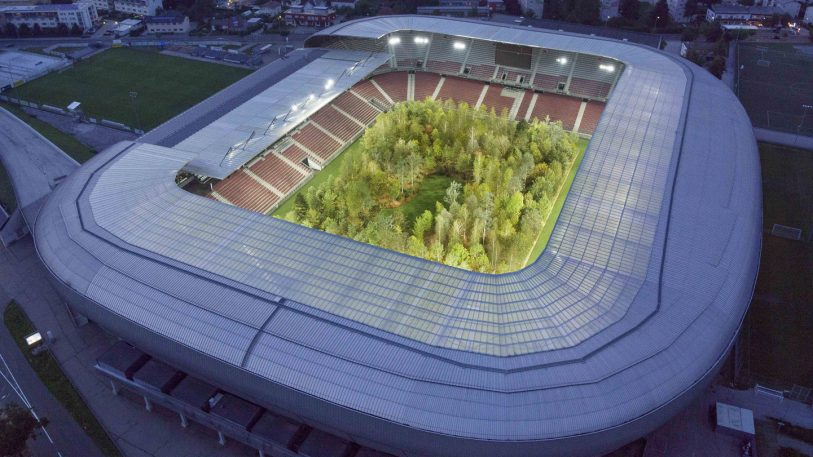 This 30,000-person football stadium is now home to a living forest